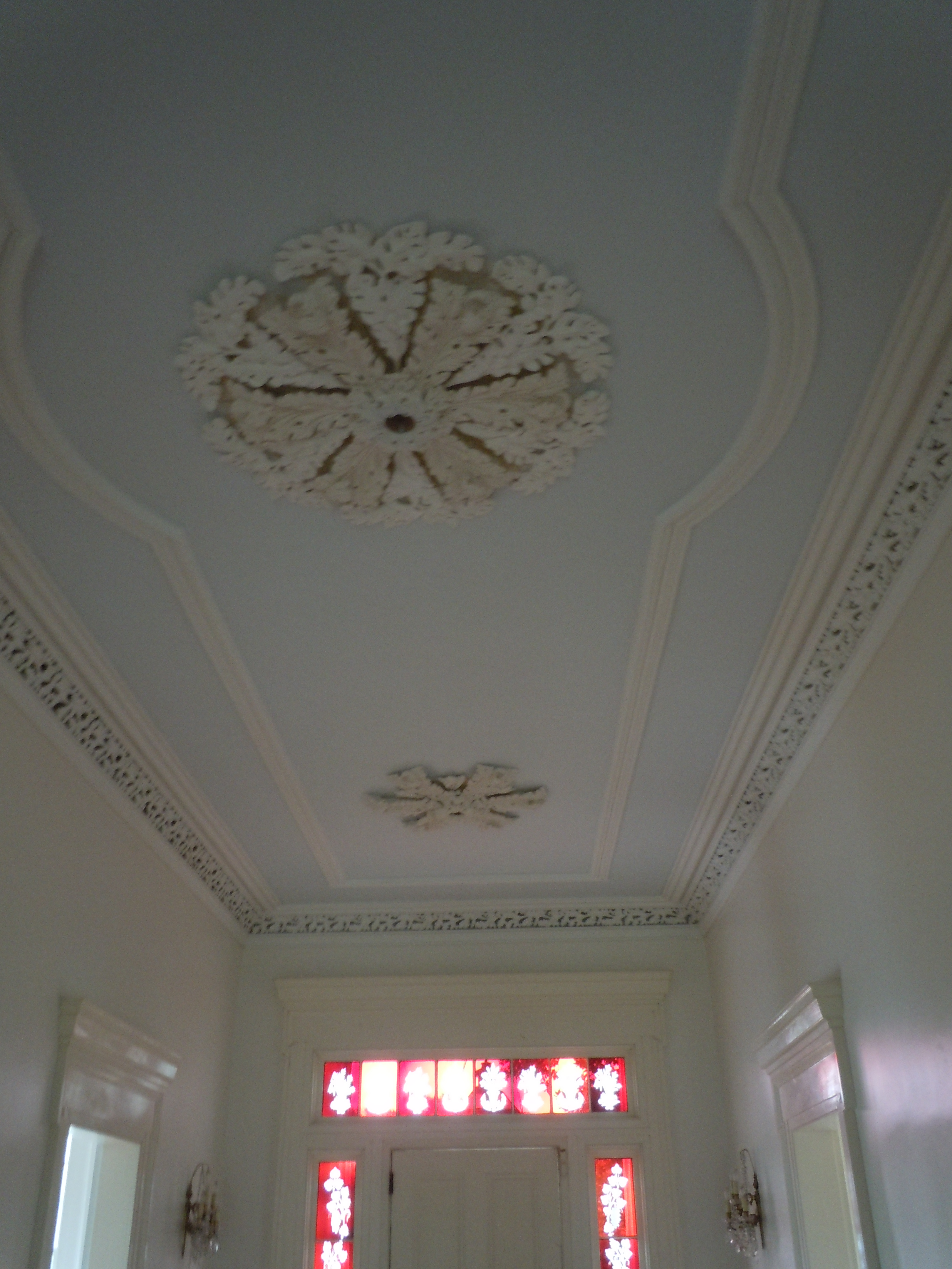 Partial view of Upstairs hallways showing two of three ceiling medallions. The lateral medallions are the same design.